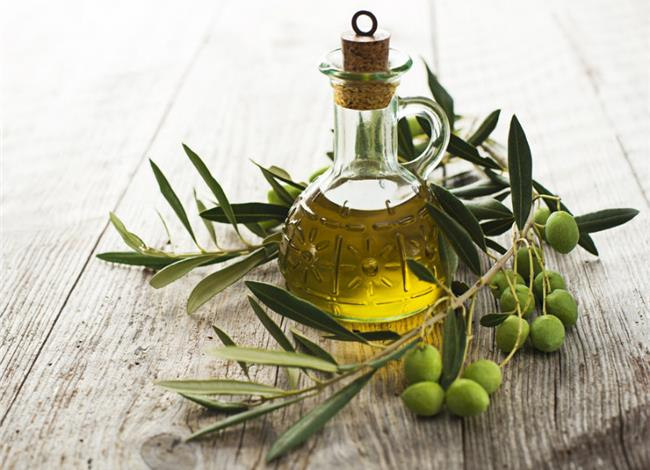 Olive Oil bottle and Olives branch